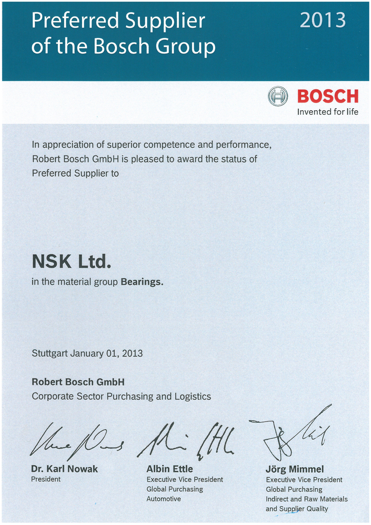 Cda Bosch Names Nsk Preferred Supplier